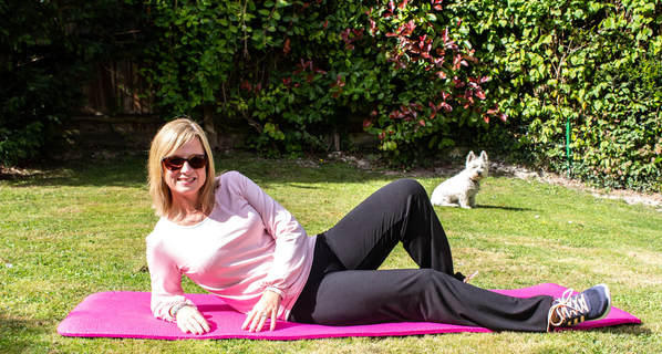 bamboo yoga pants with westie dog