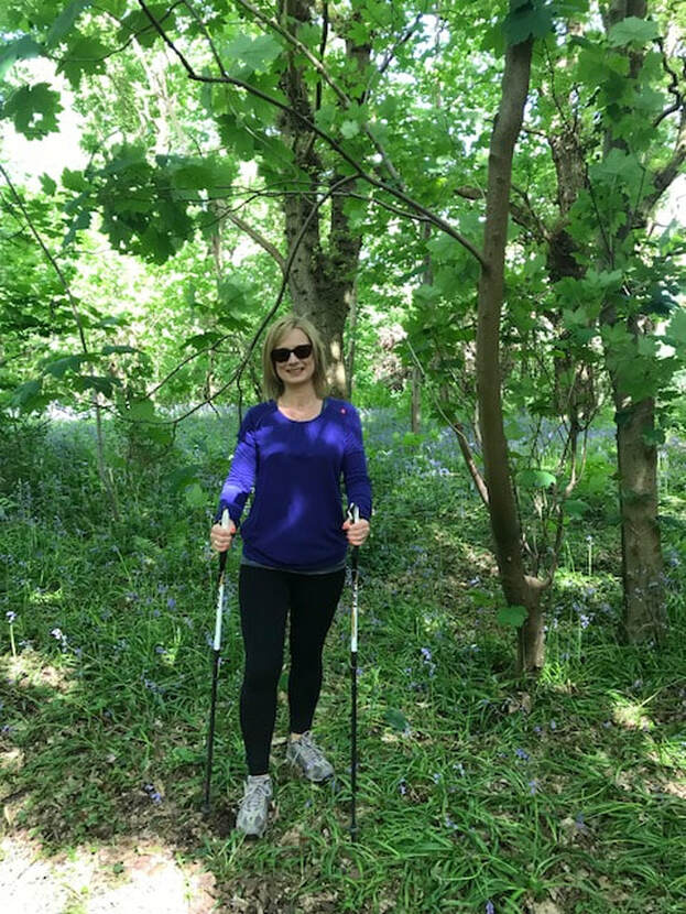 nordic walking in bluebell woods
