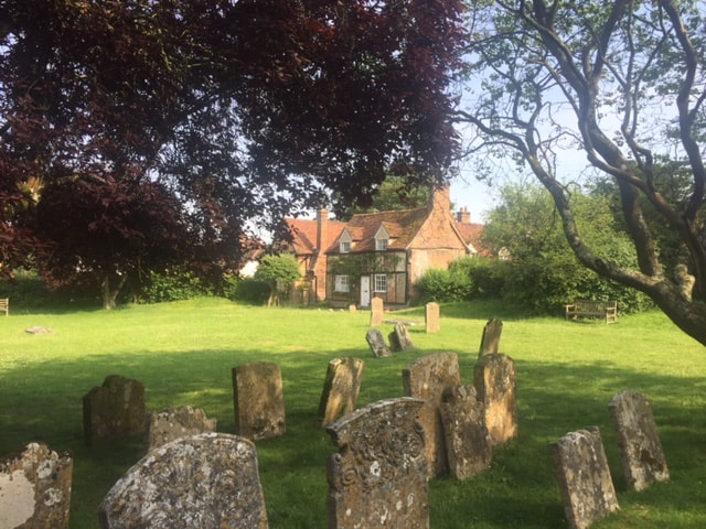 view from church yard at turville in buckinghamshire
