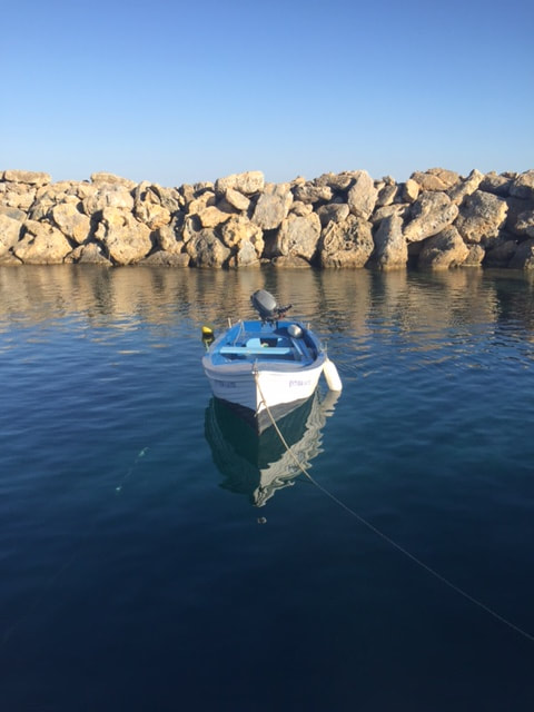 boat in natural harbour kefalonia