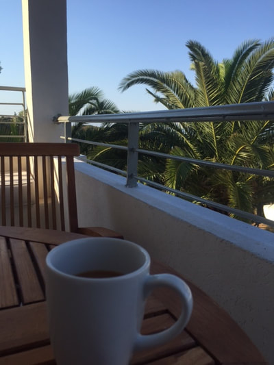 cup of tea on balcony
