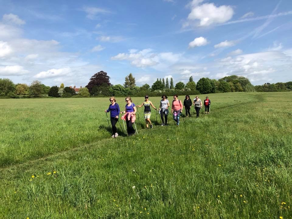 Group of women nordic walking