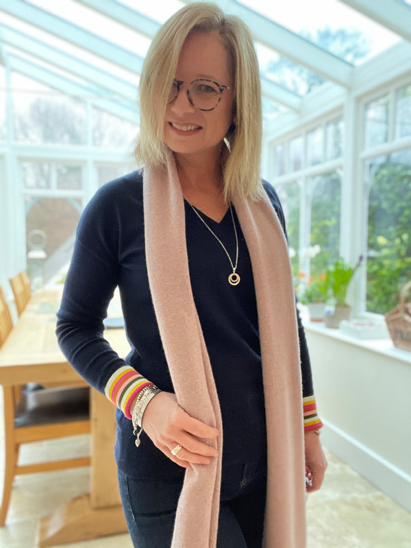 pink scarf with navy jumper | 50 and Fabulous