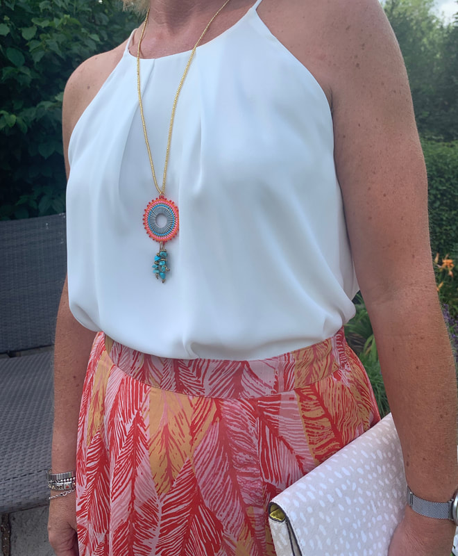 maxi skirt and halterneck top