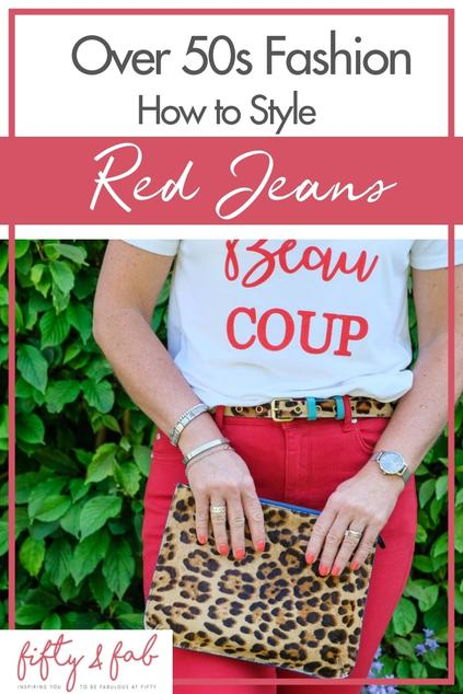 How to style red jeans when you're over 50! No need to fear colour when you're in your midlife - you can still wear stylish fashions and bright colours - here's how! #midlifestyle