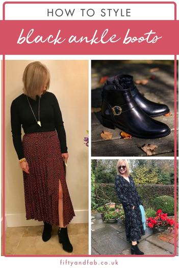 How to style black ankle boots - black ankle boots are perfect with trousers, jeans, dresses or skirts. Here are some ways to wear them. #over50sfashion #footwear